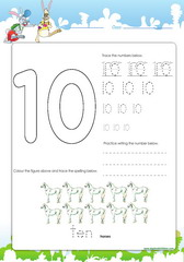 Tracing and spelling number 10