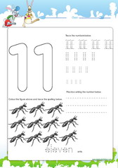 Tracing and spelling number 11
