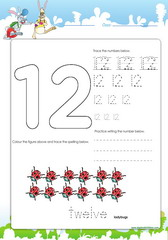 Tracing and spelling number 12