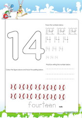 Tracing and spelling number 14
