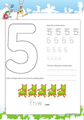 Tracing and spelling number 5