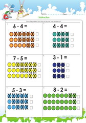 Subtraction illustrated with picture sentences