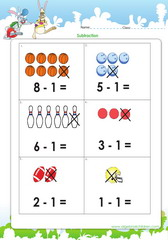 Subtraction of numbers to10 with pictures