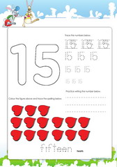 tracing-and-spelling-number-15 Counting Worksheets With Objects on for pre, numbers classroom, free printable, writing numbers,