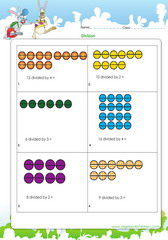 Introduction to division of numbers wth dots