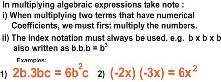 Multiplying algebraic expressions