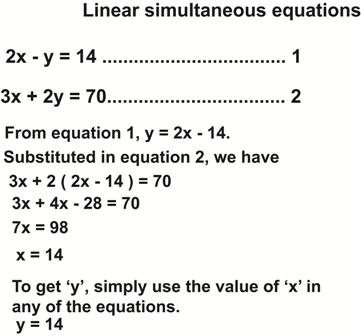 Solving simultaneous equations by substitution - Worked examples for children